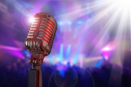 Retro microphone against colourful