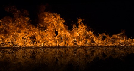 Photo for Fire flames isolated on black background - Royalty Free Image