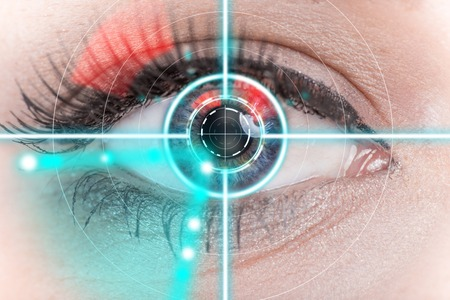 Photo for Woman eye scan interface, close-up. - Royalty Free Image
