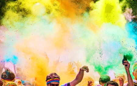 Photo for Close-up of color marathon, people covered with colored powder. - Royalty Free Image
