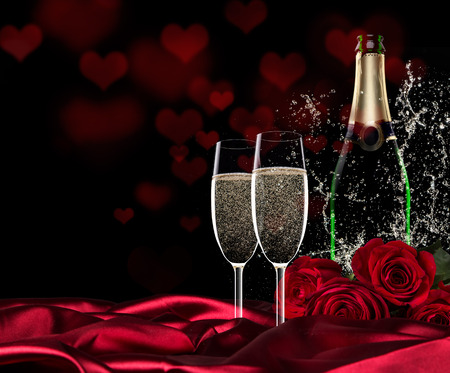 Sparkling valentine day with champagne and roses, close-up.