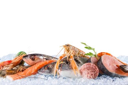 Photo pour Fresh seafood on crushed ice, close-up. - image libre de droit