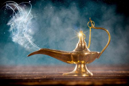 Photo for Aladdin magic lamp with smoke. - Royalty Free Image