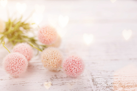Foto de Flowers composition for Valentine's, Mother's or Women's Day. Pink flowers on old white wooden background. Still-life. - Imagen libre de derechos