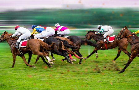 Foto de Race horses with jockeys on the home straight. Shaving effect. - Imagen libre de derechos