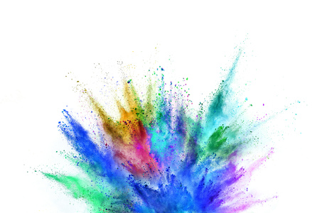 Foto de Colored powder explosion on white background. - Imagen libre de derechos