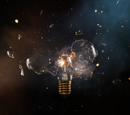 Photo for Real explosion of vintage electric bulb. - Royalty Free Image