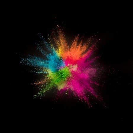 Foto de Colored powder explosion on black - Imagen libre de derechos