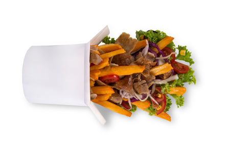 Photo pour Turkish Kebab box with french fries on white - image libre de droit