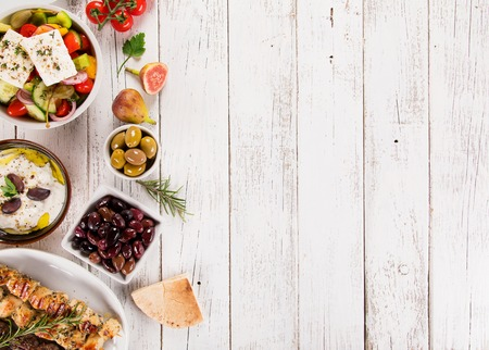 Photo for Greek food background. Traditional different greek dishes , top view. Close-up - Royalty Free Image