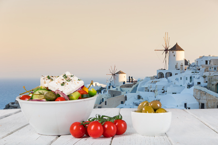 Foto de Greek food background. Traditional different greek dishes. Close-up - Imagen libre de derechos