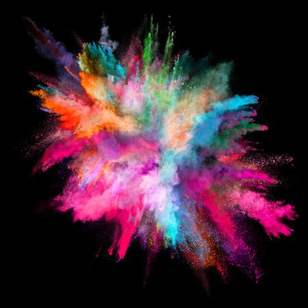 Foto de Colored powder explosion on black background. - Imagen libre de derechos
