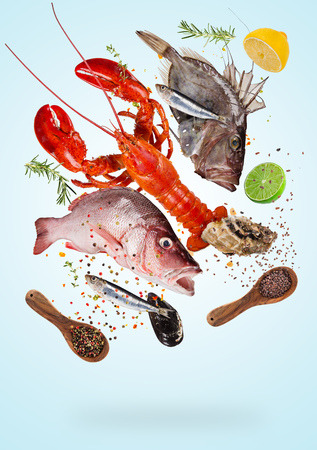 Photo pour Flying raw sea fishes with ingredients for cooking. Food preparation concept - image libre de droit