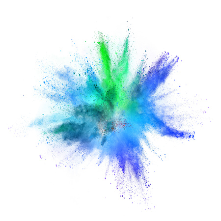Photo for Colored powder explosion on white - Royalty Free Image