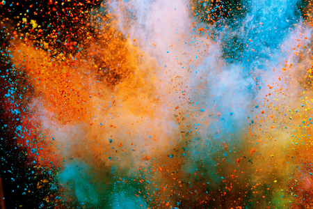 Photo pour Colored powder explosion on black - image libre de droit