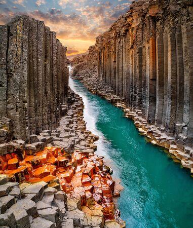 Breathtaking view of Studlagil basalt canyon, Iceland.