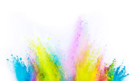 Foto de Colored powder explosion on white background. Freeze motion. - Imagen libre de derechos