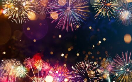 Photo pour Colorful firework with bokeh background. New Year celebration. - image libre de droit