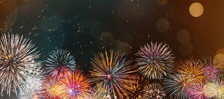 Foto de Colorful firework with bokeh background. New Year celebration, Abstract holiday background - Imagen libre de derechos