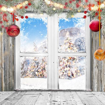 Photo for Christmas old white window with decorations, lots of copy space for your product or text. - Royalty Free Image