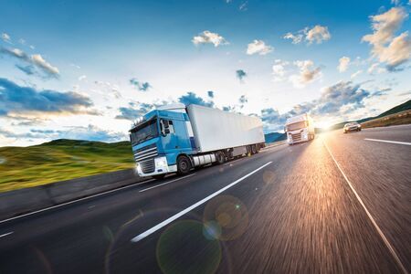 Photo for Truck with container on road, cargo transportation concept. - Royalty Free Image