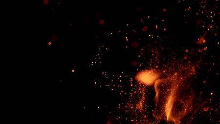Foto de fire flames with sparks on black background - Imagen libre de derechos