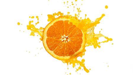 Photo pour Fresh Orange Slice with Splashing Juice - image libre de droit