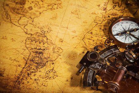 Foto de Top view of accessories for travel on vintage wooden background. - Imagen libre de derechos