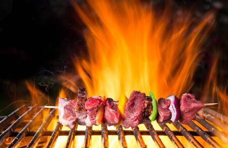 Photo pour Tasty skewer on cast iron grate with fire flames. - image libre de droit