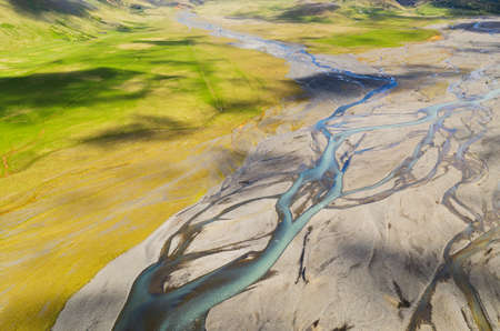 Photo for Beautiful aerial view of glacier river system in Iceland. - Royalty Free Image