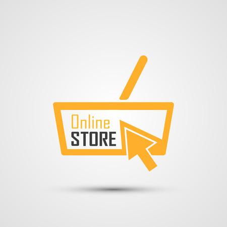 Online Store Logo. Orange Basket.