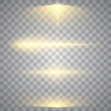 Abstract image of lighting flare. Set of golden lights