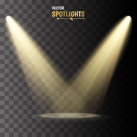 Illustration pour Spotlights. Vector light effect on transparent background - image libre de droit