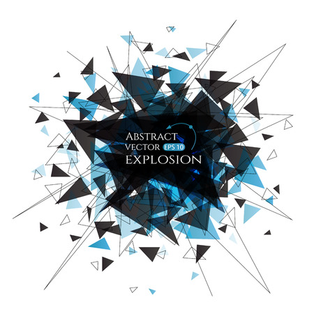 Explosion cloud of black pieces on white background. Vector banner with connected lines and triangles.