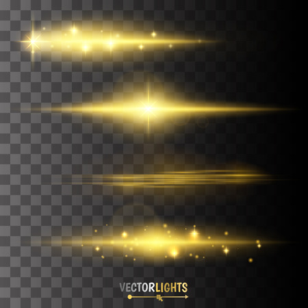 Ilustración de Golden glow special effect light, flare, star and burst. - Imagen libre de derechos