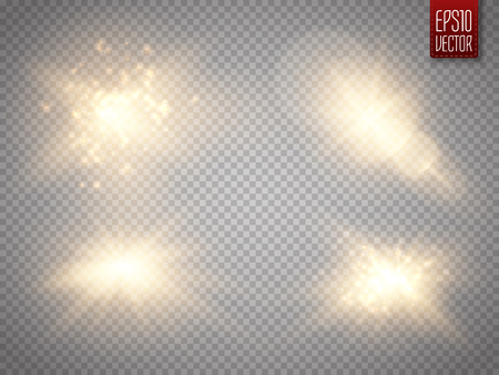 Set of golden glowing lights effects isolated on transparent background. Sun flash with rays and spotlight. Glow light effect. Star burst with sparkles. Vector illustration