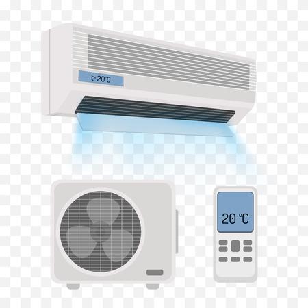Ilustración de Air conditioner isolated on white. Vector illustration - Imagen libre de derechos