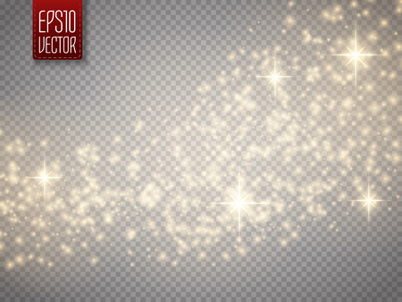 Illustration pour Vector gold glitter wave abstract background. Gold glittering star dust trail sparkling particles on transparent background. Magic background - image libre de droit