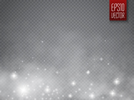 Fog or smoke with glow light isolated transparent special effect. White vector cloudiness, mist or smog background. Magic template. Vector illustration