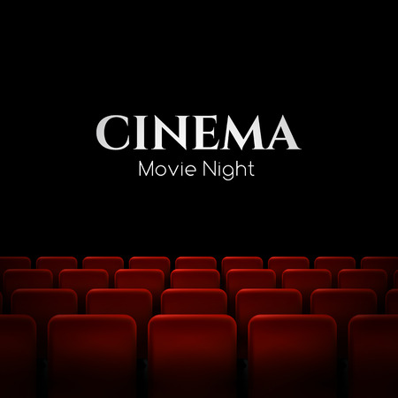 Illustration for Movie cinema premiere poster design with red seats. Vector background. - Royalty Free Image