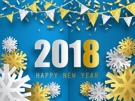 Ilustración de 2018 Happy New Year vector background with 3d paper snowflakes. - Imagen libre de derechos