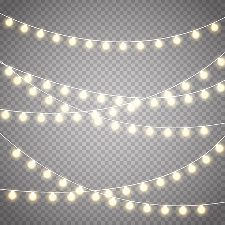 Illustration for Christmas lights isolated on transparent background ;xmas glowing garland. - Royalty Free Image