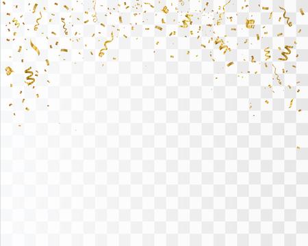 Illustration pour Golden confetti isolated on checkered background. Festive vector illustration. - image libre de droit