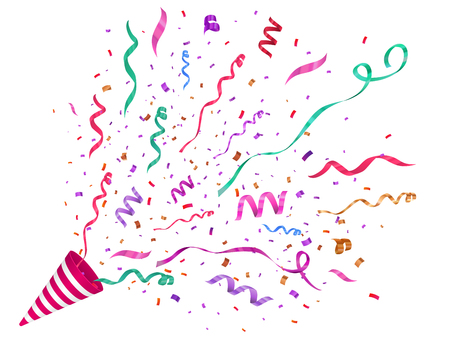 Ilustración de Vector confetti illustration. Festive illustration. Party popper isolated on white background. - Imagen libre de derechos