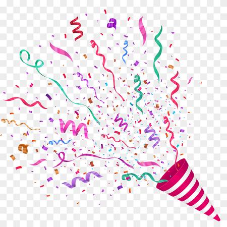 Illustration pour Vector confetti illustration. Festive illustration. Party popper isolated on checkered background. - image libre de droit