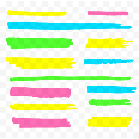 Illustration pour Colorful highlighters set. Yellow, green, purple and blue markers. Transparent hand drawn brush lines. Vector illustration - image libre de droit