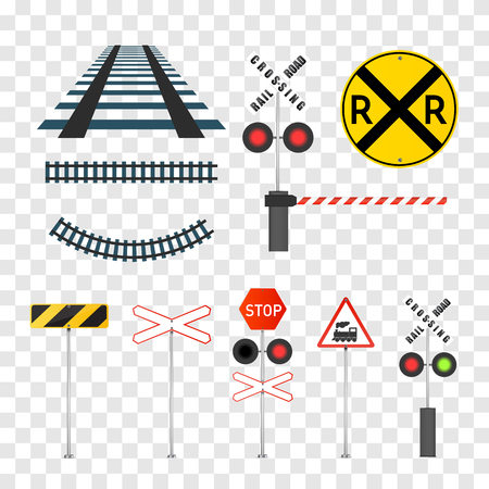 Illustration pour Railway signs set isolated on transparent background. Vector illustration. - image libre de droit