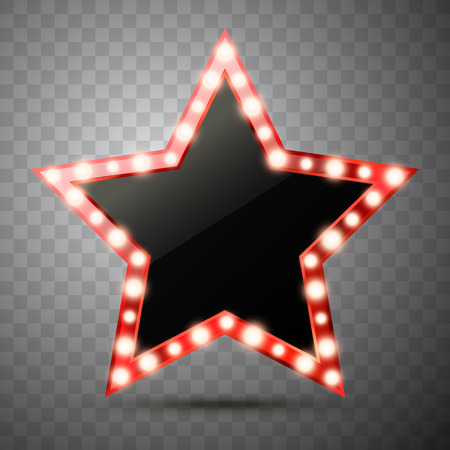 Illustration for Star with lights isolated. Luxury vector illustration of golden star with shine light bulbs. - Royalty Free Image