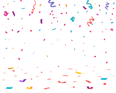 Illustration for Confetti isolated on white background. Falling confetti, birthday vector illustration - Royalty Free Image