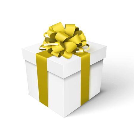 Illustration pour Gift box with gold ribbon and bow. Vector 3d illustration - image libre de droit